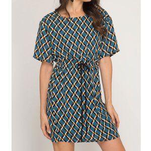 She + Sky Short Sleeve Geo Print Woven Dress